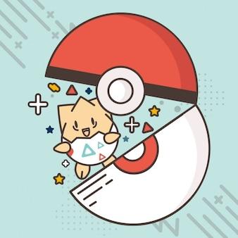 Płaski pokemon tle