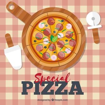 Płaski projekt tradycyjnych pizzy tła