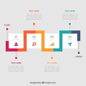 Płaski szablon infograficzny o kolorowym stylu