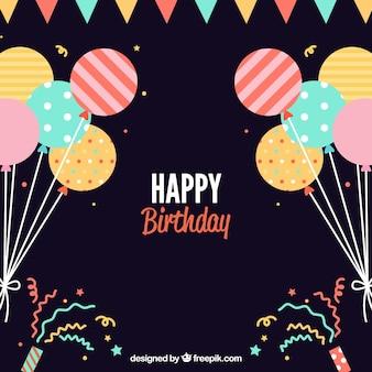 Płaski tło urodziny z balonami dekoracyjnych