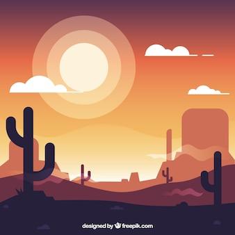 Płaski zachodniej tle z kaktusów i słońce