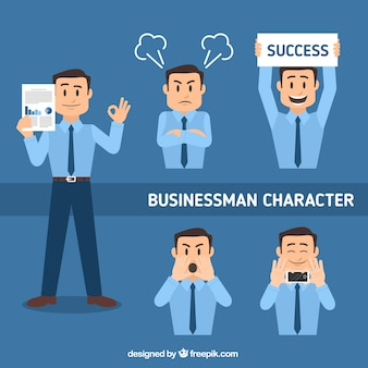 Płaski zestaw charakter biznesmen w różnych pozycjach