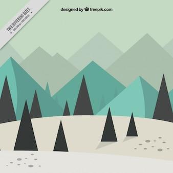 Płaski zimowy krajobraz z drzew sosnowych i gór