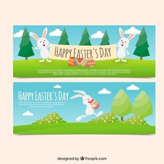 Płaskie easter transparenty z zabawnymi królików w płaskiej konstrukcji