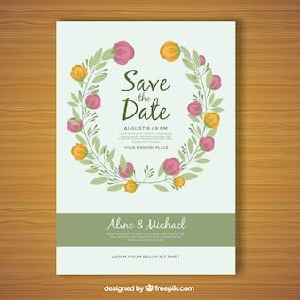 Płaskie kwiatowe karty ślubne z okrągłym wzorem