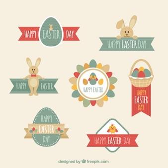Płaskim Dzień Wielkanocny Zestaw etykiet