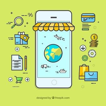 Płatności online, różne elementy na zielonym tle