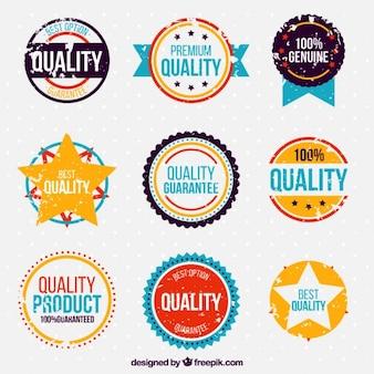 Paczka kolorowych naklejek gwarancji jakości rocznika