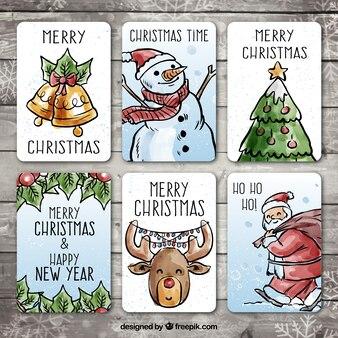 Paczka rysowane ręcznie kartki świąteczne z mocą akwarela