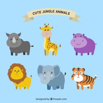 Paczka uśmiechając zwierząt dżungli