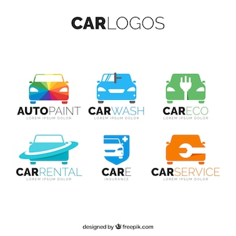 Paczka z kolorowym logo samochodów
