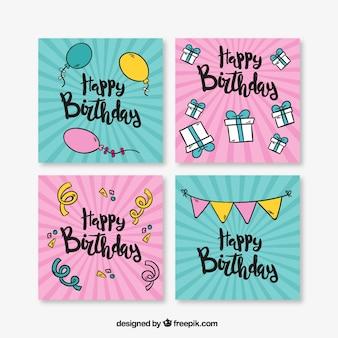 Pakiet czterech kart urodzinowych w zabytkowe projektowania