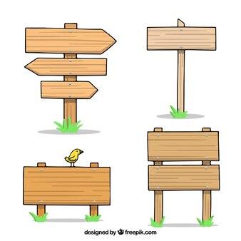 Pakiet czterech wyciągnąć ręcznie drewniane znaki