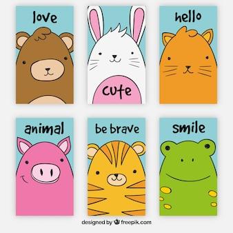 Pakiet sześciu ładnych kart zwierząt