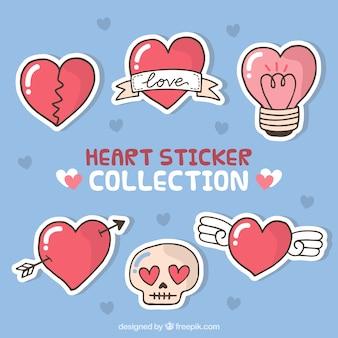 Pakiet sześciu ręcznie rysowane serca naklejek