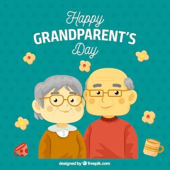 Para dziadków z okulary tle