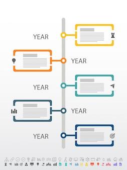Pięć kroków, rozkład Timeline Infographics z zestawem ikon, w wersjach czarno-białych i kolorowych.