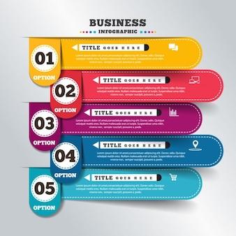 Pięć opcjonalnie w kolorze infografika