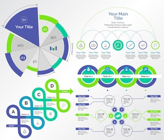 Pięć zestawów wykresów badawczych Zestaw szablonów