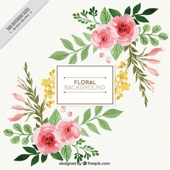 Piękna akwarela tle kwiatów