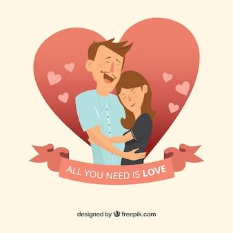 Piękna miłość para w tle