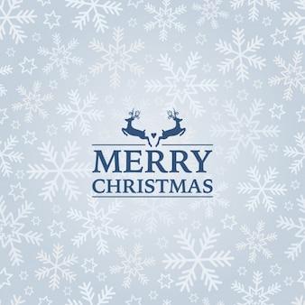 Piękne Boże Narodzenie tła z dwóch reniferów i płatki śniegu