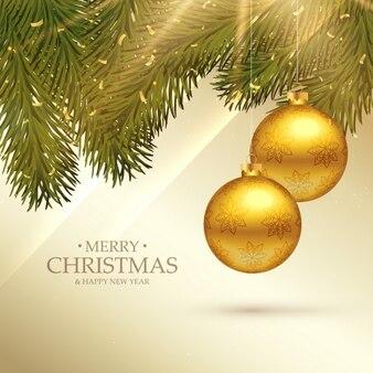 Piękne kartki świąteczne wesołe święto życzeniami z realistycznymi kulki i jodły liści