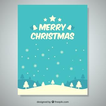 Piękne kartki świąteczne z drzew i płatki śniegu