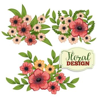 Piękne kwiatu design.Vector ilustracji