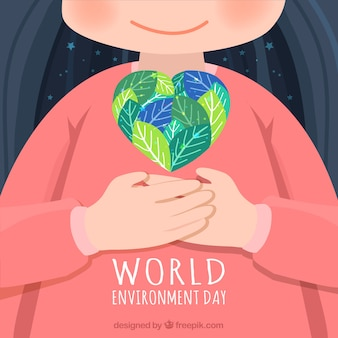 Piękne tło z dzieciakiem i sercem na świat dzień środowiska