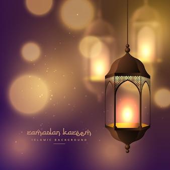 Piękne wiszące lampy na rozmyte bokeh tła dla ramadan kareem