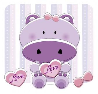 Piękny hipopotam z sercem