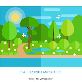 Piękny krajobraz wiosna