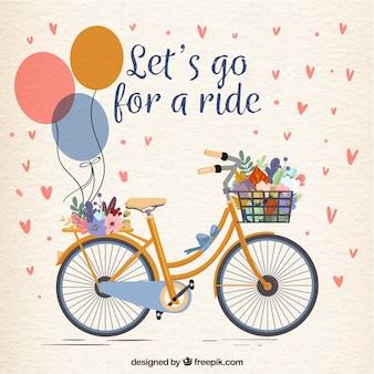 Piękny rower z balonami i kwiatami