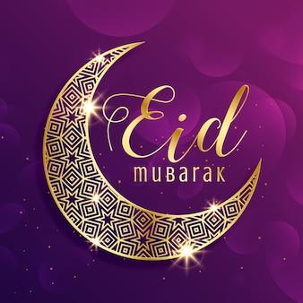 Piękny złoty księżyc eid mubarak festiwal powitania tle