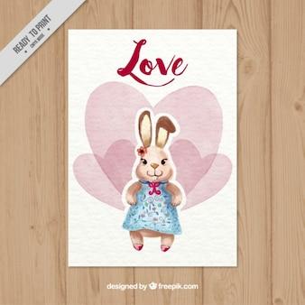 Piękne karty z serca akwareli i cute królików