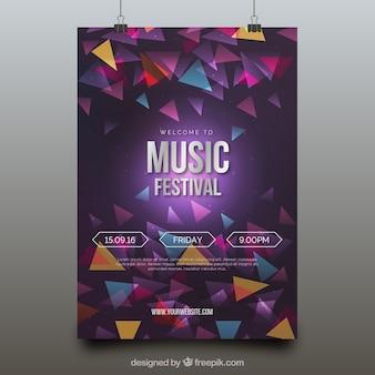 Plakat festiwalu muzyki współczesnej z geometrycznymi postaciami