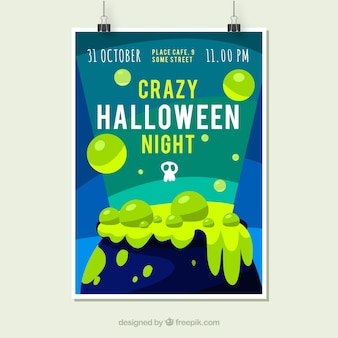 Plakat Halloween z kocioł