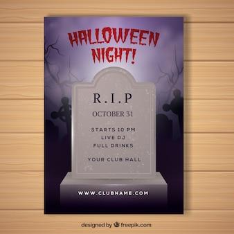 Plakat Halloween z realistycznym nagrobkiem