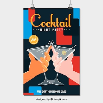 Plakat koktajlowy toast
