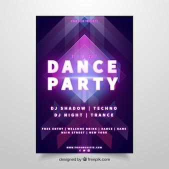 Plakat partyjny z kolorowymi neonowymi światłami