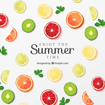 Plakat plasterki owoców na lato