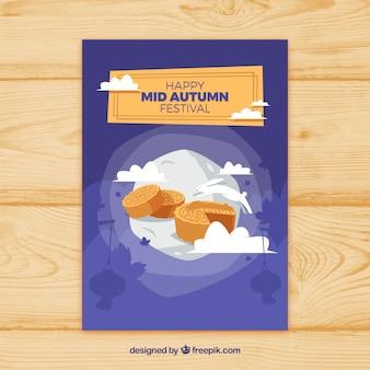 Plakat połowy jesieni z herbatnikami, księżyc i chmur