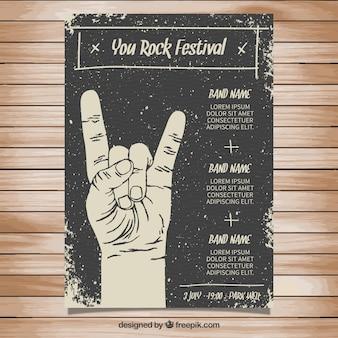 Plakat rockowy festiwal w stylu grungy