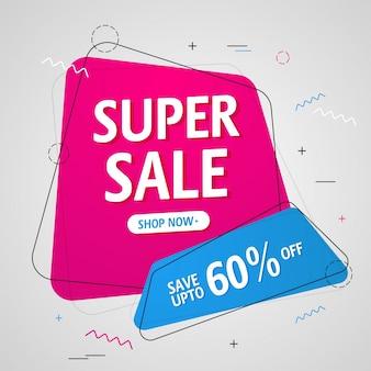 Plakat Super Sale lub Projekt plakatu sprzedaży.