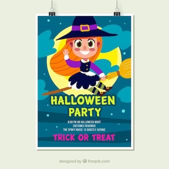 Plakat z okazji Halloween z ładną czarownicą