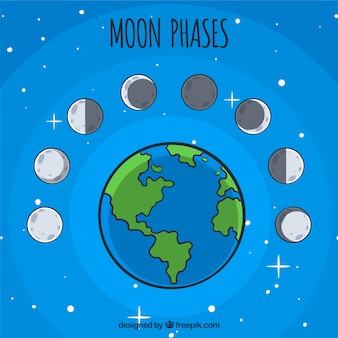 Planeta Ziemia z ozdobnymi fazami księżyca