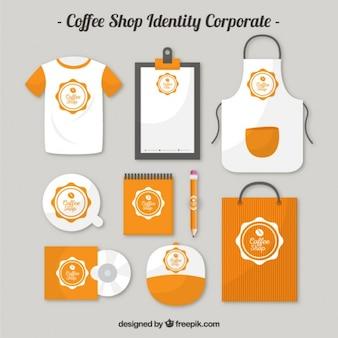 Pomarańczowy Coffee shop identyfikujący korporacyjnych