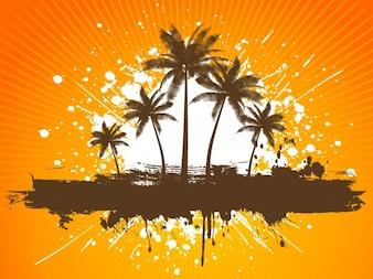 Pomarańczowy Tropical Beach Background