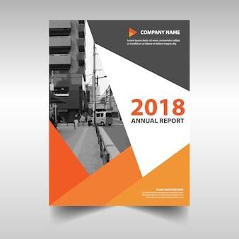 Pomarańczowy twórczy roczny raport szablon książki okładki